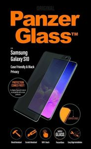 PanzerGlass Galaxy S10 skjermbeskyttelse,  Privacy Screen Protector,  sort ramme, heldekkende,  case friendly (P7175)