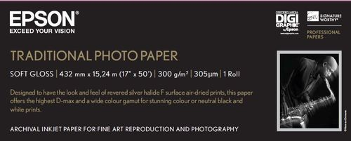 """EPSON Traditional Photo Paper 17""""x15m Rull (C13S045054)"""