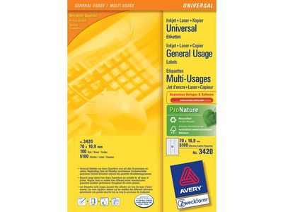 AVERY General Usage Labels White 70x16,9mm all printers 51 labels/ sheet 100 sheet/ pack (3420)
