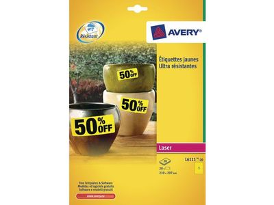 AVERY Heavy Duty Labels Yellow 210x297 mm (L6111-20)