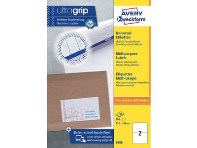AVERY White Labels 2TV 210 x 148mm 2 Labels/ Sheets **100-pack** (3655)