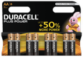 DURACELL Plus Power AA Alkaline Batteries,  8pk