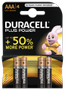 DURACELL Plus Power AAA Batteries,  4pk