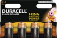 DURACELL Plus Power C Alkaline Batteries,  4pk