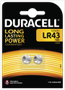 DURACELL LR43 Batteries, 2pk