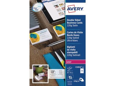 AVERY Business Cards Ultra White, Satin Finish 220g 85x54mm 10 Cards/ Sheet (C32016-25)