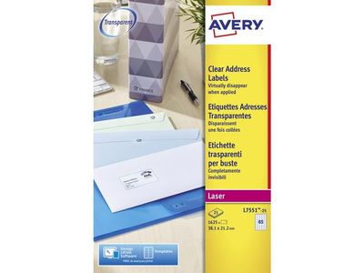 AVERY LASER CLEAR MINI ADRESS ETTIKETTER 38,1X21,2 (L7551-25)