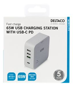 DELTACO 65W PD with QC3 and 2xUSB A White (USBC-AC119)