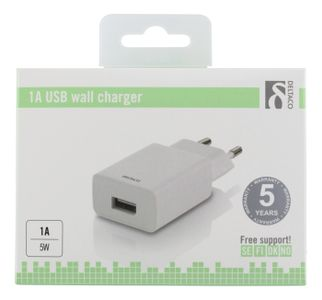 DELTACO USB CHARGER 1A WHITE COLOR BOX (USB-AC161)
