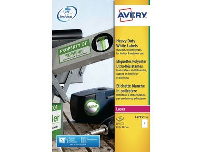 AVERY Laserlabel vandfast A4 210x297 (L4775-20)