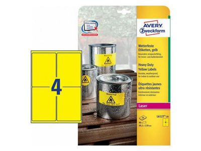 AVERY Yellow Heavy Duty Labels Durable resistant,  99, 1x139mm 4 labels/ sheet 20 sheets/ pack (L6127-20)