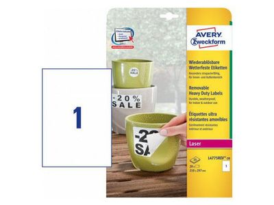 AVERY Heavy Duty Labels White Removeable,  210x297 1 labels/ sheet 20 sheets/ pack (L4775REV-20)