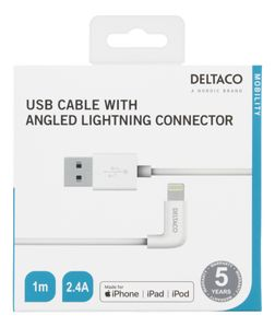 DELTACO MFI Lighting Angel to USB A white 1m (IPLH-176)