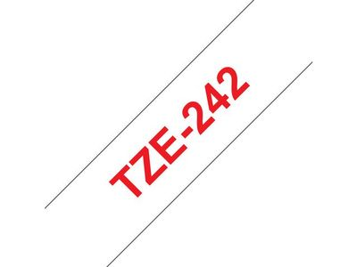 BROTHER 18MM Red On White Tape (TZE-242)