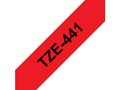 BROTHER TZ-tape / 18mm / Black Text / Red Tape
