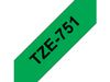 BROTHER 24MM Black  On Green Tape (TZe751)