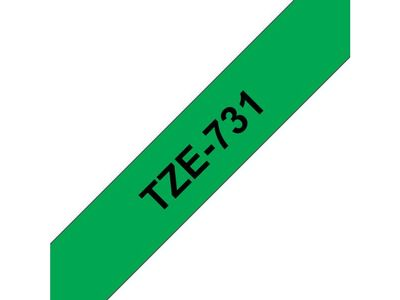 BROTHER 12MM Black On Green Tape (TZE731)
