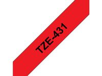 BROTHER 12MM Black On Red Tape (TZE431)