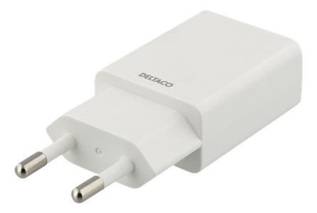 DELTACO USB CHARGER 1A WHITE WHITE BAG (USB-AC162)