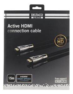 DELTACO HDMI Extension cable 4Kx2K 60Hz 15m black textile (HDMI-4150)
