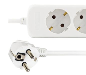 DELTACO power strip 3xCEE 7/4, 1xCEE 7/7, 1,5m cable, 2xUSB-A, white (GT-160)