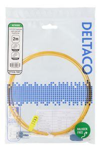 DELTACO LC-LC, Push/ Pull-tab,  duplex, OS2, 2m (LCLC-2S-PPT)
