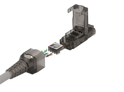 DELTACO RJ45 plug Cat6a, unshielded,  tooless, grey (MD-105)