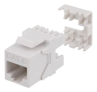 DELTACO Cat6 jack 180 mini, unshielded,  krone/ dual,  max 18mm wide, white (MD-118)