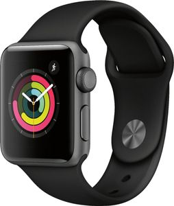 APPLE Watch Series 3 GPS + Cellular, 42mm Space Grey Aluminium Case with Black Sport Band (MTH22MP/A)