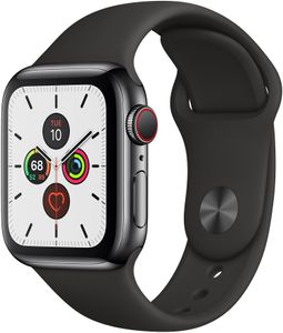 APPLE Watch Series 5 GPS + Cellular, 44mm Space Black Stainless Steel Case with Black Sport Band - S/M & M/L (MWWK2KS/A)
