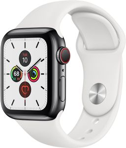 APPLE Watch Series 5 GPS + Cellular 40mm Stainless Steel Case med White Sport Band - S/M & M/L (MWX42DH/A)