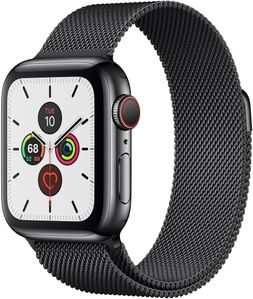 APPLE Watch Series 5 GPS + Cellular, 44mm Space Black Stainless Steel Case with Space Black Milanese Loop (MWWL2KS/A)