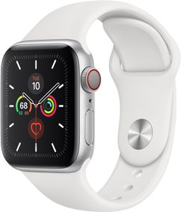 APPLE Watch Series 5 GPS + Cellular 40mm Silver Aluminium Case with White Sport Band - S/M & M/L (MWX12KS/A)