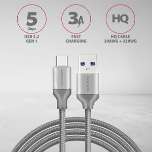 AXAGON HQ Cable USB-C <-> USB-A 3.1. Grey. 1.0m Factory Sealed (BUCM3-AM10G)