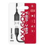 AXAGON SPRING Cable USB-C <-> USB-A. Black. 0.5m Factory Sealed (BUCM-AM05SB)