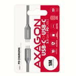 AXAGON PD 100W Cable USB-C <-> USB-C 3.1. Grey. 1. Factory Sealed (BUCM3-CM10G)