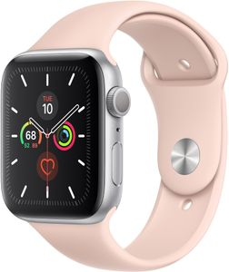 APPLE Watch Series 5 GPS 44mm Gold Aluminium Case with Pink Sand Sport Band - S/M & M/L (MWVE2KS/A)