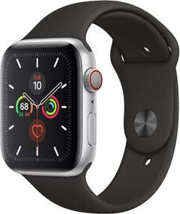 APPLE Watch Series 5 GPS 44mm Aluminiumgehäuse Space Grau Sportarmband Schwarz (MWVF2FD/A)