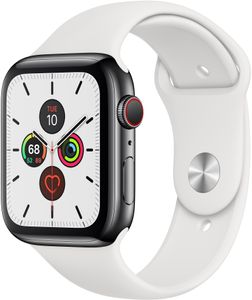 APPLE Watch Series 5 GPS + Cellular 44mm Stainless Steel Case with White Sport Band - S/M & M/L (MWWF2KS/A)