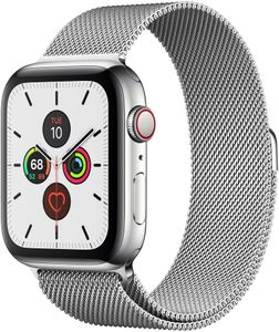 APPLE Watch Series 5 GPS + Cellular, 44mm Stainless Steel Case with Stainless Steel Milanese Loop (MWWG2KS/A)