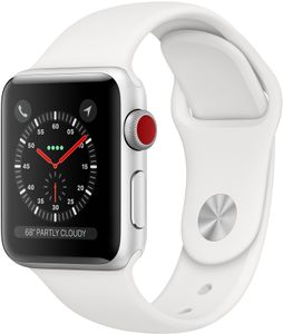 APPLE Watch Series 3 GPS + Cellular, 38mm Silver Aluminium Case with White Sport Band (MTGN2MP/A)
