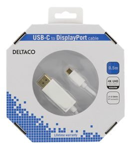 DELTACO USBC TO DP CABLE WHITE 50CM (USBC-DP051-K)