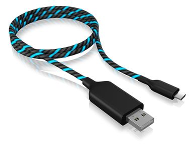ICY BOX USB 2.0 Type-A to Micro-B, 1m, electroluminescent,  Black/ Blue (60502)