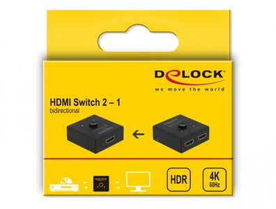 DELOCK HDMI 2 - 1 Switch bidirectional 4K 60 Hz compact (64072)