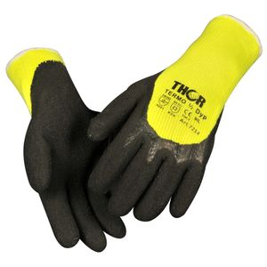 KD Halvdyppet latexhandske,  THOR Grip Termo, 7, polyester/ bomuld/ latex,  ribkant (1000004096*12)