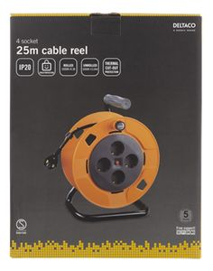 DELTACO IP20 cable reel 25m (GT-951)