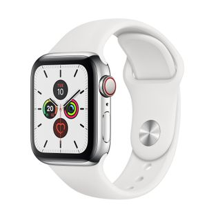 APPLE Watch Series 5 GPS + Cellular 40mm Stainless Steel Case with White Sport Band - S/M & M/L (MWX42KS/A)