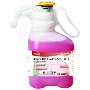 _ Sanitetsrengøring,  Diversey Taski Sani 100 Pur-Eco, 1,4 l, alkalisk/ affedtende,  med farve og parfume (160575)