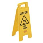 "Advarselsskilt,  Rubbermaid,  gul, PP, 2-sidet, med tekst ""Caution - Wet floor"""