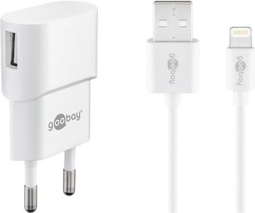 GOOBAY 8-Pin Charger Set. 1x USB Port. White. 1.0A Factory Sealed (45295)